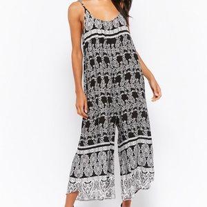 Ornate Black/White Culotte Jumpsuit